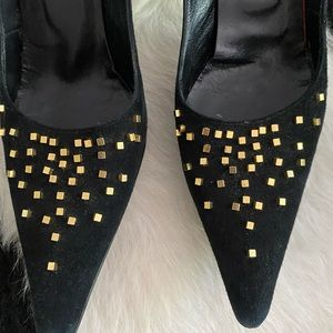 Casadei black suede pumps with gold studs